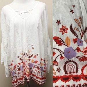 ANA White Floral Boho Blouse w Bell Sleeves Medium